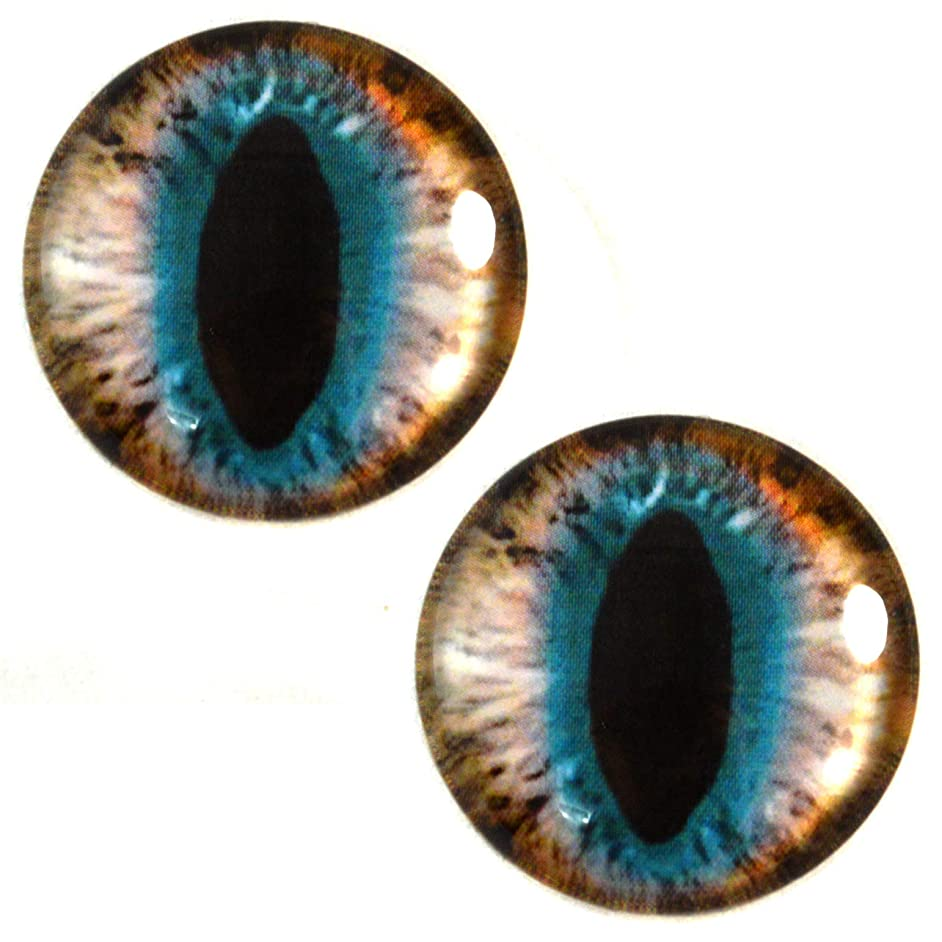 30mm Brown and Teal Cat or Dragon Glass Eyes Pair for Art Dolls, Sculptures, Props, Masks, Fursuits, Jewelry Making, Taxidermy, and More