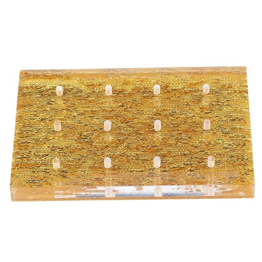 F Fityle ネイルドリルビットホルダー スタンド マニキュア 収納オーガナイザー 2色選べ - ゴールド