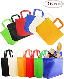 """BcPowr 36 PCS 8""""×10""""(20×25cm) Non-Woven Gift Bag,Party Gift Tote Bags,6 Colors,Non-Woven Material,Assorted Colorful Blank Canvas Bags,Rainbow Colors with Handles for Birthday Favors,Delivery Bag"""