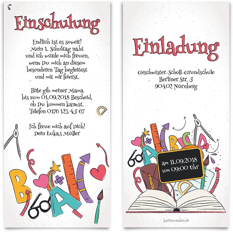 40 x Einschulung Einladungskarten Einschulungskarten Schulanfang Set - Bücherwissen B07CC3YKF4 | eine breite Palette von Produkten