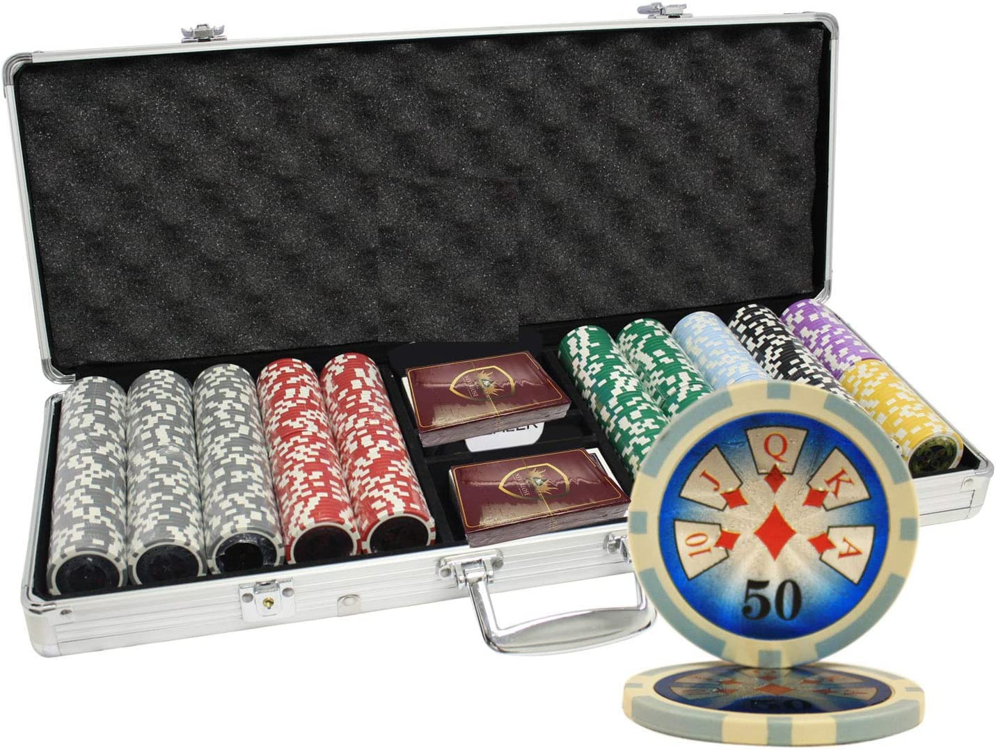 MRC 500pcs Boston Mall High NEW before selling ☆ Roller Laser Poker with Chips Set Case Aluminum