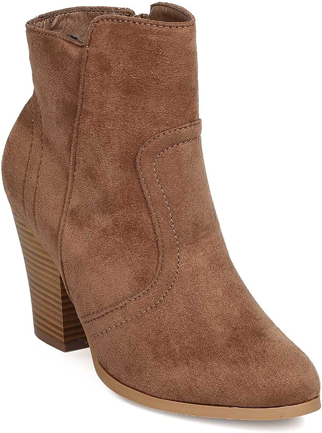 Wild Diva Women Faux Suede Chunky Heel Riding Bootie FD99 - Taupe