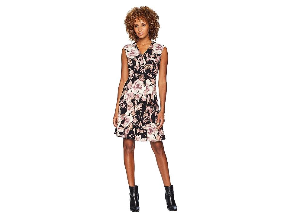 London Times V-Neck Blossom Crepe Scuba Dress (Black/Pink) Women