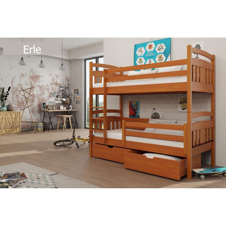 Moebel89 hochbett Hugo con escalera/hochbett, cuna, Litera, cama para niños en 90 cm x 200 cm/libre elección de colores, madera maciza, aliso, Bett mit Lattenrost & Matratze: Amazon.es: Hogar