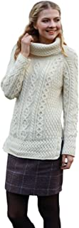 Ladies - 100% Soft Merino Wool - Cable Knit Sweeter Vented Roll Neck Irish Jumper