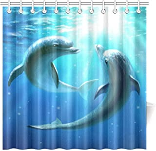 Big buy store Shower Curtain Ocean Dolphins Wildlife Underwater Animals Tropical Aquatic Nature Picture ,Waterproof Fabric Bathroom Decor Set with Hooks(60