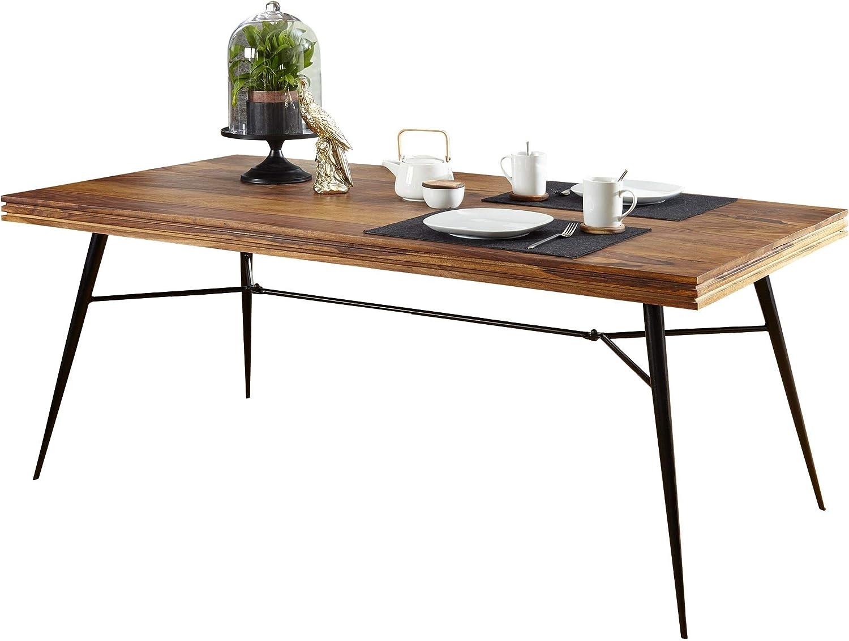 FineBuy Solid Dining Table Nasha Sheesham Solid Wood Dining Room ...
