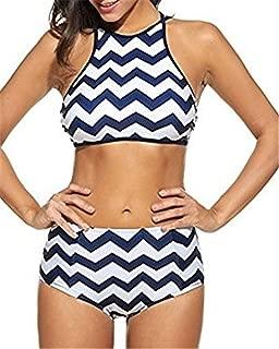 Henraly Women's Tidal Wave Striped Printed Racerback Bikini High Waist Bathing Suit