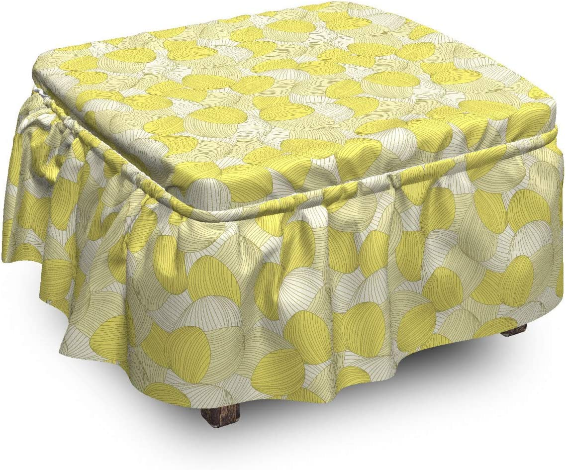 Ambesonne Abstract Ottoman Cover Soft Tone Pie Leaves Pastel Ranking TOP15 Quantity limited 2