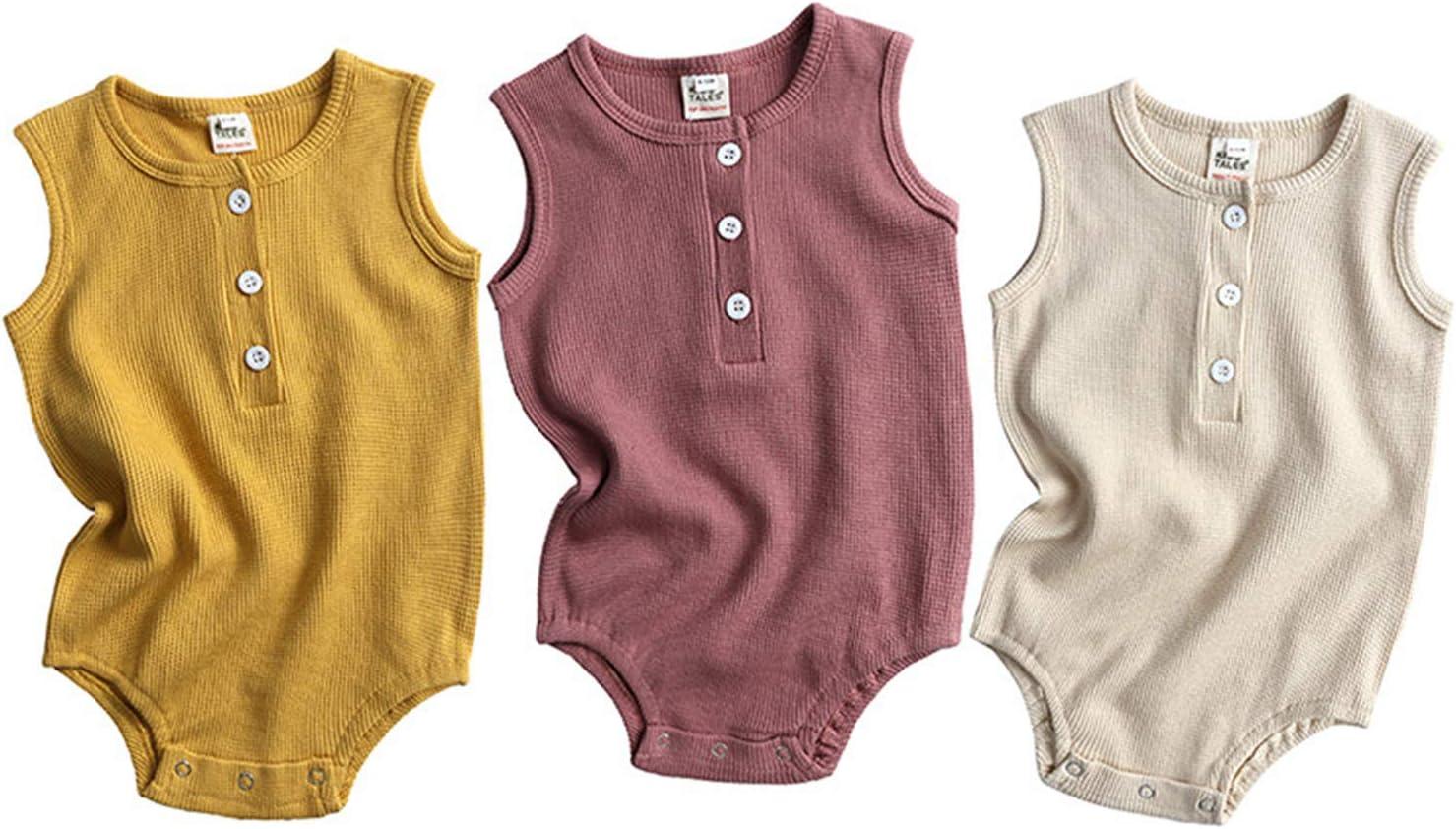 YOJOLO 3 Pack Max 48% OFF Baby Romper Sleeveless Girl Oklahoma City Mall Newborn Boy Tod