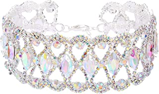 Bling Choker Necklace with Crystal Fashion Drag Queen Costume Jewelry for Women 3 Colors 1 Pc