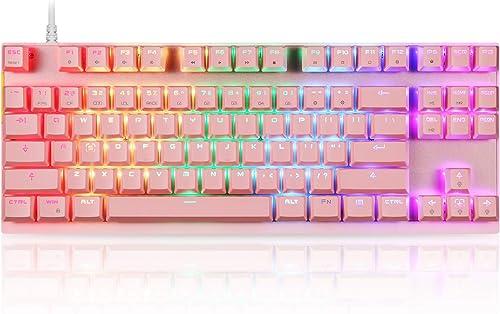 Motospeed Professional Gaming Mechanical Keyboard RGB Rainbow Backlit 87 Keys Illuminated Computer USB Gaming Keyboar...