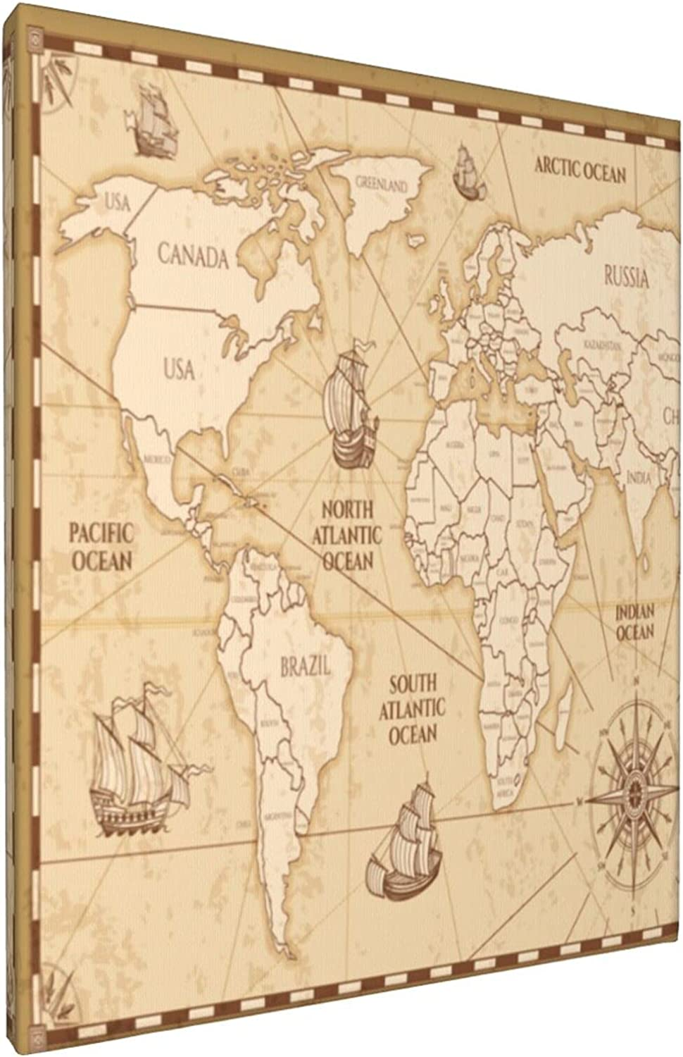 Antique Limited price sale 25% OFF World Map Countries Canvas Decorative Frameless Art Wall