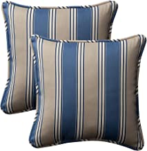Pillow Perfect Decorative Striped Toss Pillow, Square, Blue/Tan