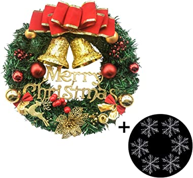 Fanng Merry Christmas Wreaths 12inch Handmade Christmas Garlands with Red Bowknot, Golden Bell and for Indoor Outdoor Door Wall Ornament Window Home Christmas Festival Decor (Red Christmas Wreath)