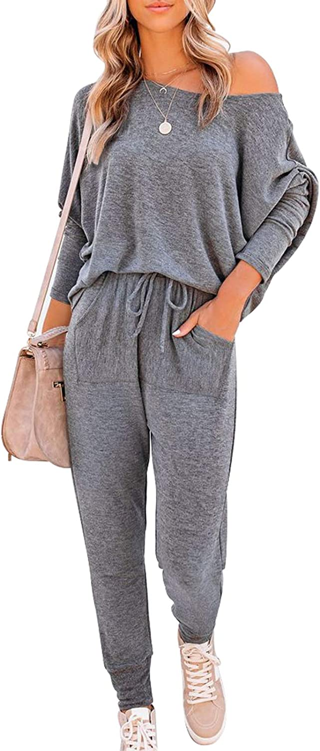 Outlet ☆ Free Shipping Womens Off Shoulder Sweatsuit Set excellence Two Piece Batwing Ou Oversized