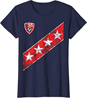 Womens US Womens Soccer Jersey Style USA Flag Stars Womans T-Shirt
