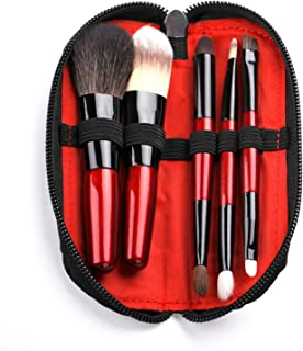Protable Mini Makeup Brushes Set with Travel Case,5PCS Cosmetic Brushes Kit(Natural and Synthetic Hair)-Includes Foundation-Contouring-Blending-Blush And Eyeshadow Brushes(Travel Size)