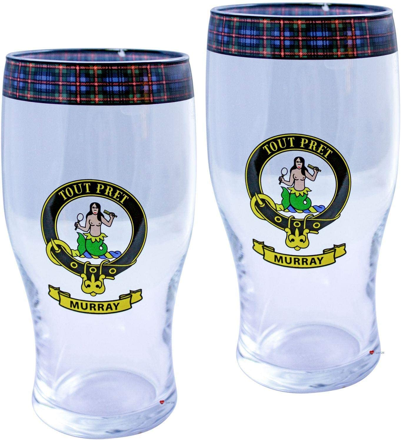 I service LUV LTD Murray Clan Traditional Set Pint Scottish Max 70% OFF Glasses Beer