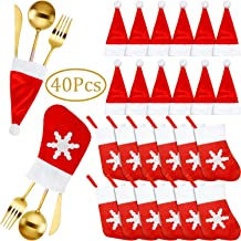 40 Pieces Christmas Santa Hats Silverware Holders Tableware Holders Santa Claus Flatware Holder Christmas Socks Decorations Dinner Table Decorations Party Supplies