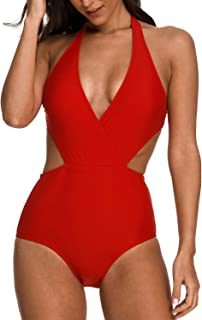 d5ee6eb8cfcc4 Coskaka Women's Surplice Neckline high Waisted Halter Deep V One Piece  Swimsuit Monokini Bathing Suits for