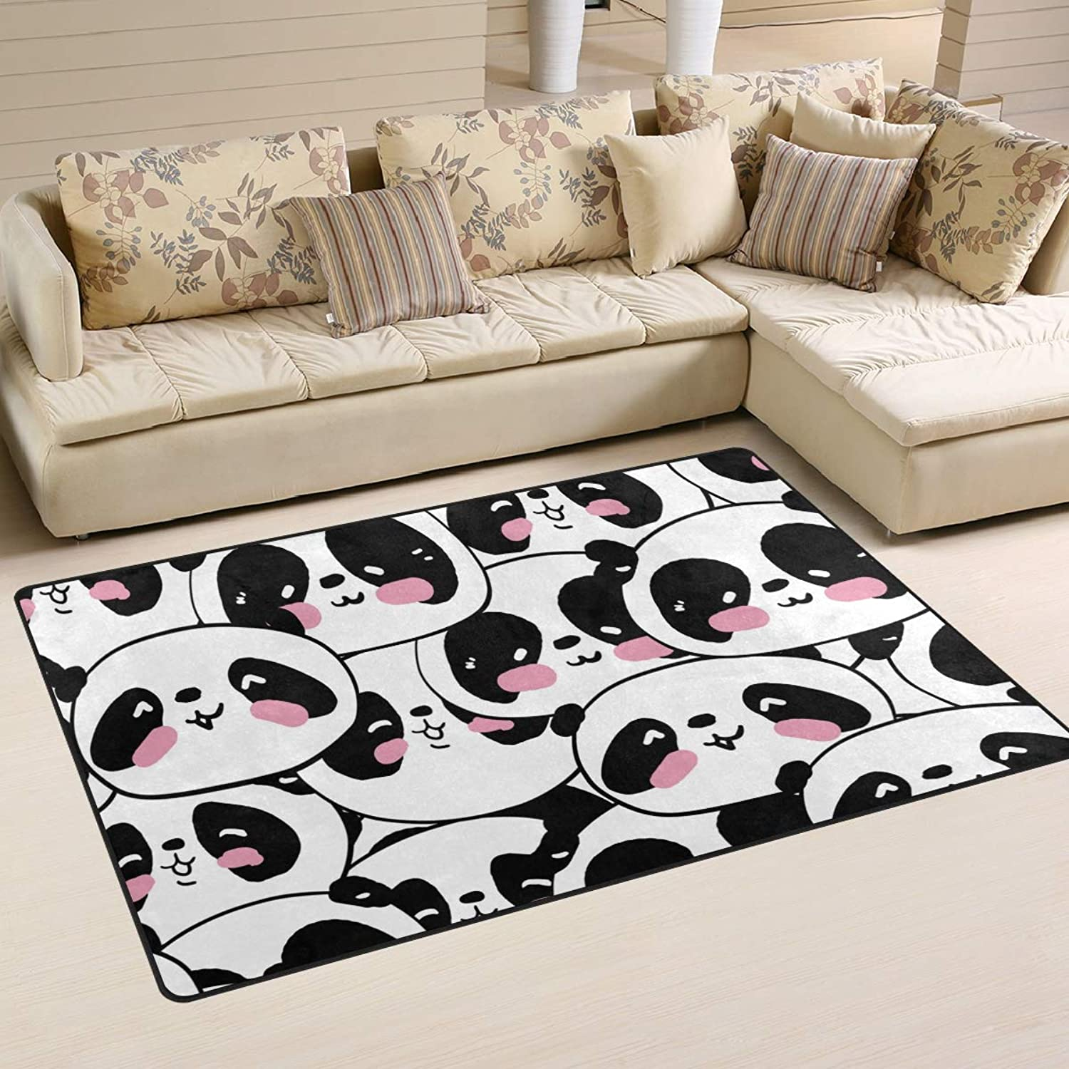 FANTAZIO Area Rug Accessories Joyous Pandas Entry doormats for Corners and Edge Anti-Curling Ideal Rug Stopper 31x20in 60x39in
