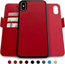 Dreem Fibonacci 2-in-1 Wallet-Case for iPhone X & Xs, Magnetic Detachable Shock-Proof TPU Slim-Case, Allows Wireless Charging, RFID Protection, 2-Way Stand, Luxury Vegan Leather, Gift-Box - Red