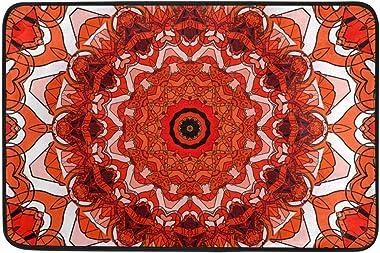 Creative Commons Mandala Doormat, Entry Way Indoor Outdoor Door Rug with Non Slip Backing, (23.6 x 15.7-Inch)