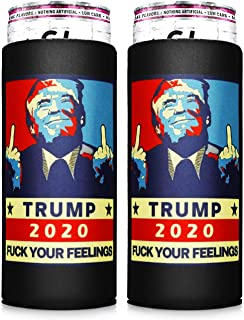 Trump Coozies 2pcs White Claw Skinny Can Coozie For Slim Cans Slim Can Cooler Slim Can Insulator Skinny Can Cooler Beer Coozies For Cans Hopsulator Slim Tall Can Coozie Can Coolers Hard Seltzer