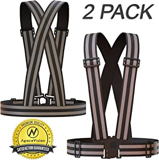 Apace Vision Reflective Vest (2 Pack)   Lightweight, Adjustable & Elastic   Safety & High Visibility for Running, Jogging, Walking, Cycling   Fits Over Outdoor Clothing - Motorcycle Jacket/Gear