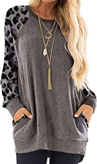 Women's Long Sleeve Shirts Color Block Leopard Loose Fit Blouses Sweatshirts Pullover Tops Tee Chic Blouse (Color : Leopar...