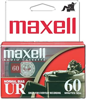 Maxell 109024 UR-60 2PK Normal Bias Audio Cassettes 60 Minutes with Cases 2 Pack