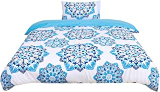 uxcell Twin 2-Piece Bohemian Blue Duvet Sets - 3D Printed Bohemia Themed - All-Season Reversible Design - Includes 1 Duvet...