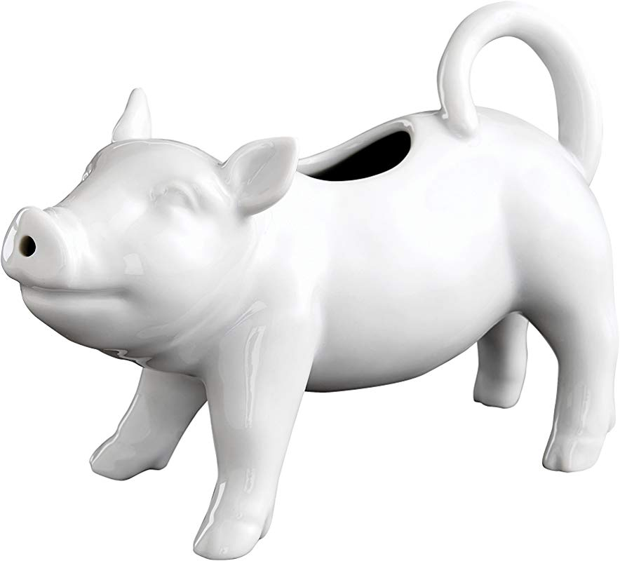 HIC Pig Creamer With Handle Fine White Porcelain 6 Ounces