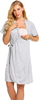 Striped Maternity Robe, Pregnant Short Sleeve Labor Delivery Nursing Hospital Gowns S-XXL