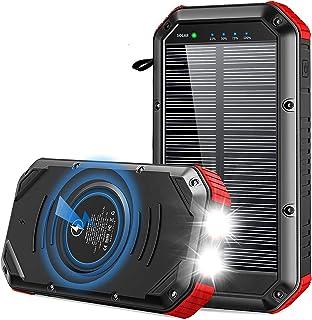 Solar Power Bank 30000mAh, Qi Wireless Portable Solar Power Bank Panel Laddare, med LED ficklampa Stor kapacitet Telefonla...