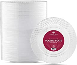 100 CRYSTAL CLEAR PLASTIC PLATES | 6 .25 Inch Disposable Plates | Fancy Dessert Plates | Hard Round Party Plates | Elegant Appetizer Plates | Heavy Duty Wedding Plates | Small Cake Plates [Diamond]