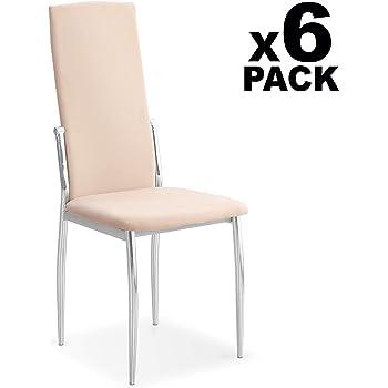 HomeSouth - Pack 6 sillas de Comedor, salón o Cocina, Silla Acabado en Tela Jarama Color Beige, Modelo Sakura, Medidas: 43 cm (Ancho) x 53 cm (Fondo) x 110 cm (Alto): Amazon.es: Hogar