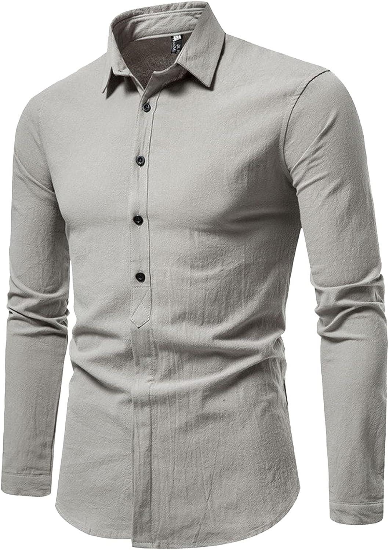 HONGJ Casual Shirts for Mens, 2021 Fall Long Sleeve Plaid Button Down Turn-Down Collar Slim Fit Business Lapel Shirt Tops