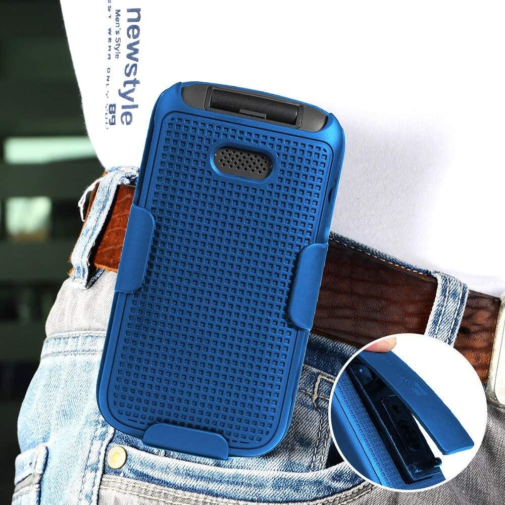 Case with Clip for Alcatel Smartflip/Go Flip 3, Nakedcellphone [Cobalt Blue] Snap-On Cover with [Rotating/Ratchet] Belt Hip Holster Holder Combo for Alcatel Go Flip 3, Alcatel Smartflip Phone (2019)