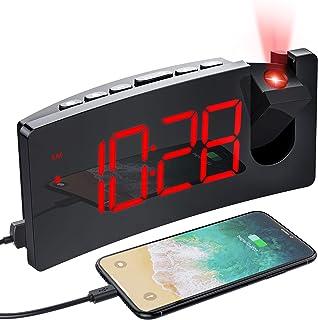 MPOW Réveil Projection Plafond avec écran Incurvé à LED 5 '', Réveil Matin avec Port de Chargement USB, 4 Niveaux de Lumin...