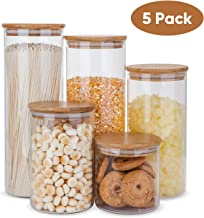 Glass Food Storage Containers Set,Airtight Food Jars with Bamboo Wooden Lids - Set of 5 Kitchen Canisters For Sugar,Candy,...
