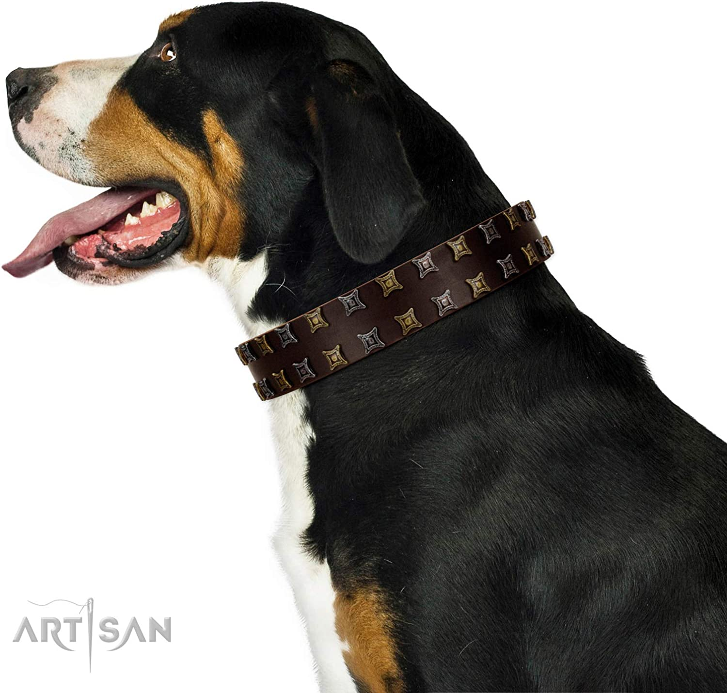 FDT Artisan 30 inch Fido's Pleasure Brown Leather Dog Collar with Amazing Studs  Exclusive Handcrafted Item  1 1 2 inch (40 cm) Wide  Gift Box Included