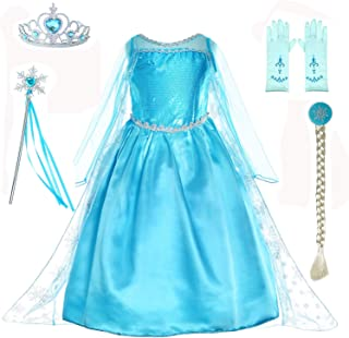 Snow Queen Princess Elsa Costumes Birthday Party Dress Up for Little Girls with Wig,Crown,Mace,Gloves Accessories 3-10 Years