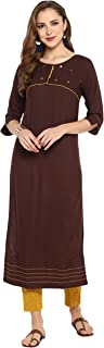 Janasya Women's Rayon Plain Straight Kurta With Narrow Pant