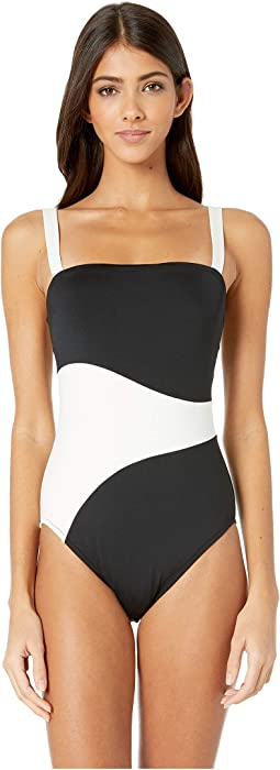 Color Block Bandeau One-Piece