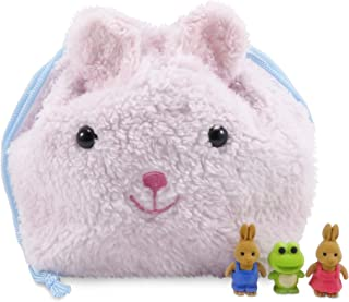 """Daiso Japan Cute Bunny Rabbit Drawstring Plush Purse Pouch 9.5"""" x 8"""" with (3) Mini Puzzle Erasers Rabbits and Frog (Cute Animals are Actually Erasers) - Perfect 4 Piece Set for Girls"""