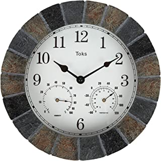 Lily's Home Hanging Wall Clock, Includes a Thermometer and Hygrometer and is Ideal for Indoor and Outdoor Use, Faux-Slate (10 Inches)