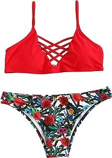 SweatyRocks Women's Bathing Suit Adjustable Spaghetti Strap Floral Print Criss Cross Bikini Set