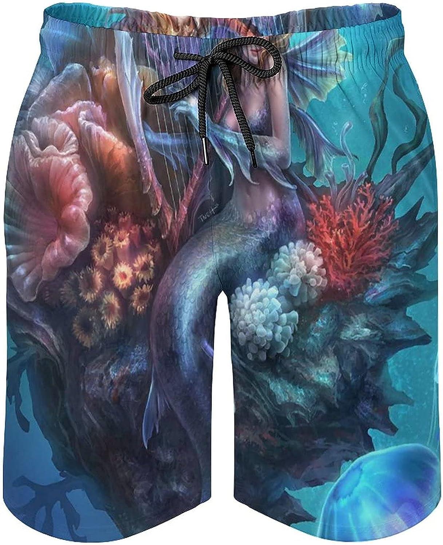 Mermaid Men's Swim Trunks Quick Dry Soft Beach Shorts Adjustable Waist Bathing Suits